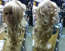 HELLOJF209  Sexy long hair light blonde fashion curly lady party Wig health hair