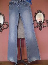 Women's - Junior's Gasoline Size 1 Low Rise Flare Leg Stretch Blue Jeans EUC