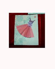 Pink Dress Card Set  Blank Inside Set of 4 Cards