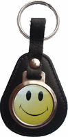 RETRO SMILEY FACE 90S ACID HOUSE BONDED LEATHER KEYRING