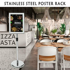 Frame Poster Menu Holder A4 Snap Telescopic Display Stand Rack Stainless Shop