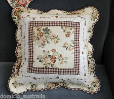 Shabby Chic Country Patchwork Lace Quilted Cotton Mat Cushion Cover 45x45cm