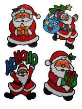 CHRISTMAS GEL/GLITTER SANTA WINDOW STICKERS REUSABLE XMAS  DECORATIONS SET OF 4