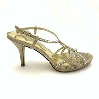 Nina Women Size 6.5 Gold Glitter Rhinestone Strappy High Heel Sandals