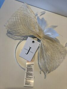JASPER CONRAN Ivory Windowpane Bow Band Wedding Mother Of The Bride Fascinator