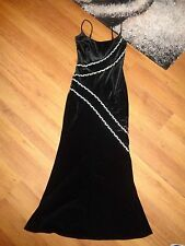 JOSEPH RIBKOFF CREATIONS BLACK VELVET EVENING LONGLINE DRESS WITH CRYSTALS-S,8UK