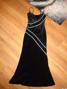 JOSEPH RIBKOFF CREATIONS BLACK VELVET EVENING LONGLINE DRESS WITH CRYSTALS-S,8UK
