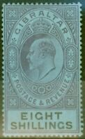 Gibraltar 1903 8s Dull Purple & Black-Blue SG54 Fine Mtd Mint (5)