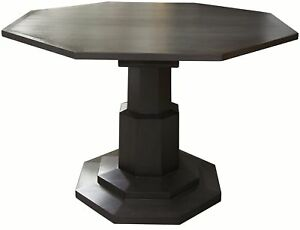 """45"""" Round Dining Table Octagon Solid Mahogany Wood Pale Black Modern Finish"""