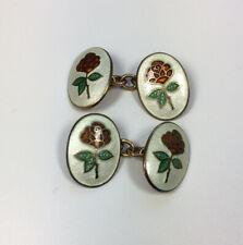 Vintage Sterling Silver Gilt Links Of London Cufflinks Enamel Rose Faces