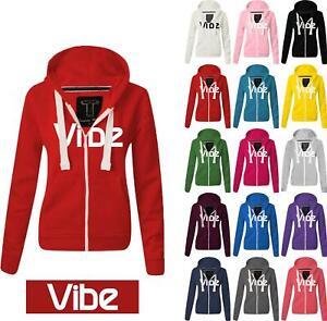 Women Ladies VIBE Zipped hoodie Sweatshirt Top Jumper Jacket Hoody