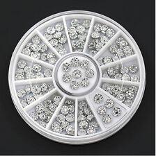 4mm Nail Art Acrylic Studs Rhinestone Charms Wheel Stickers DIY Decor Silver