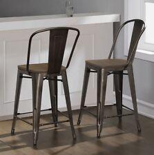 "Counter Stools Set of 2 Wood Metal Rustic Restoration Industrial 24"" Kitchen Bar"