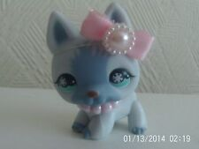 littlest pet shop blue german shepherd snow flake eyes with accessories bow neck