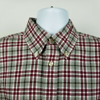 Orvis Mens Red Gray Flannel Plaid Check Dress Button Shirt Size Large L