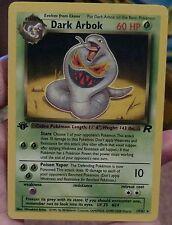 Original Vintage Pokemon Card Team Rocket Rare 1st Edition Dark Arbok 19/82 NM/M