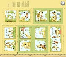 "Susybee JUNGLE STORY BOOK Panel Giraffe Lion Monkey Quilt Fabric 34"" x 43"""