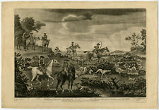 Rare Antique Master Print-LANDSCAPE-HUNTING PARTY-DOGS-Seymour-Burford-1766