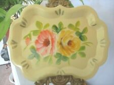 Hand Painted Near Mint Vintage Pink Lavender Flowers Pale Yellow Tole Pin Tray