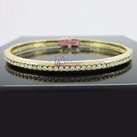 Real Women Solid 18k Yellow Gold GF Ladies Girl Oval Bangle Bracelet Lab Diamond
