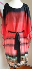 Nicola Finetti Cocktail Dress Size 12, Batwing Sleeve Kaftan Red STUNNING PIECE