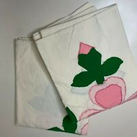 vintage pillowcase pair color white with embroidered floral print standard s