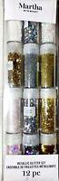 Martha Stewart Metallic Glitter Shapes And Sizes Set 12pc New! *SALE*