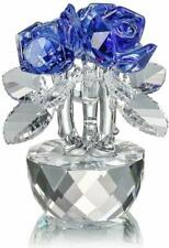 H&D Blue Crystal Rose Flowers Figurines Ornament with Gift Box