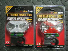 Front & Rear LED Bike Cycle Bicycle Light 9 LED Super Bright Easy Fit New 1823/4