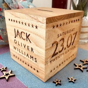 Personalised Money Box New Born Birth Christening Baptism Birthday Boy Girl Gift