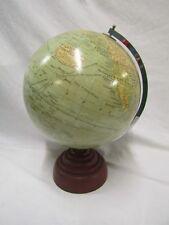 "c1930? Antique 10"" Geographia terrestrial railway globe Art Deco chrome bakelite"