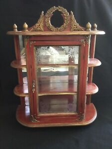 """Wall Hanging Or Tabletop Curio Cabinet Mirrored Butler Style  20""""x8.5""""x25"""""""