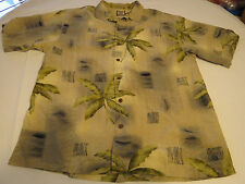 Tommy Bahama silk Men's short sleeve button up shirt L large LG palm trees EUC @
