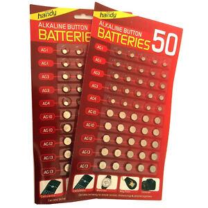 100 ASSORTED BUTTON CELL WATCH BATTERY BATTERIES AG 1 / 3 / 4 / 10 / 12 / 13 UK
