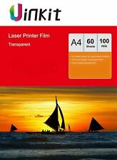 A4 OHP Film Clear Overhead Projector Film for LaserJet Print Uinkit - 60 Sheets