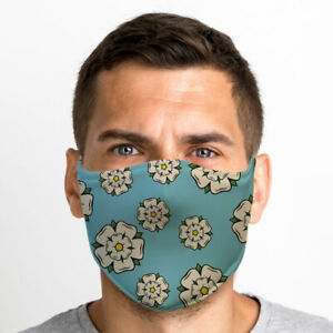 Yorkshire Rose Print One Size Reusable Washable Breathable Face Mask From UK