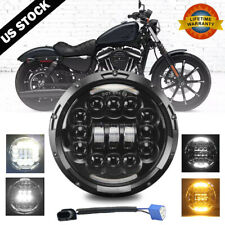 """7"""" Inch LED Headlight Projector DRL Motorcycle For Harley Dyna Cafe Racer Bobber"""