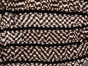 "Vintage Granny Afghan Crochet Brown White Handmade Blanket 54""x85"" Throw"