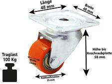 Polyurethan Lenkrolle Ø 35 mm Kompaktrolle extrem Mini Schwerlast Rolle 100 Kg
