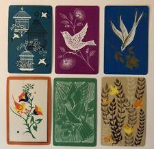 2 Single VINTAGE Swap//Playing Cards FLOWERS DANDELION PUFFS GRN//BRN GOLD LEAVES