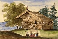 M. Sandbach, Wooden Chalet, Alps, Switzerland – Early 19th-century watercolour