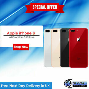NEW Apple iPhone 8 128GB & Colours SIM-Free GPS WIFI Smartphone With Accessories
