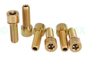 BMX bicycle stem HOLLOW bolts M8 X 1.25 X 24mm 12mm head set of 6 TITANIUM GOLD