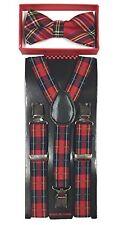 Red Plaid Tartan Suspenders & Bow Tie Matching Set Baby Toddler Kids Wedding
