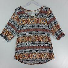 Star Vixen Womens 3/4 Sleeve Blouse Top Medium Orange Black Multi Color Pattern