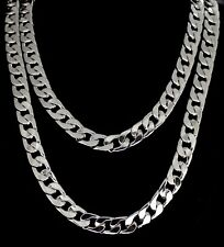 "2pc Cuban Link Set 12mm Chains 24"" 30"" Silver Tone Hip Hop Mens Womens Necklaces"