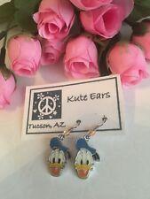 Silvertone Donald Duck Face Traditional Sailor Hat Dangle Earrings