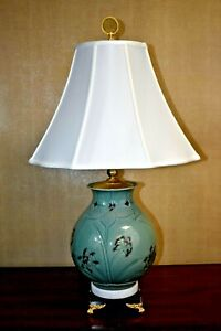 "29"" VERY FINE KOREAN CELADON GREEN PORCELAIN VASE LAMP - ASIAN ANTIQUE/VINTAGE"