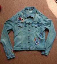 NEW Vintage 8-12 Topshop Floral Butterfly Embroidered Stone wash Denim Jacket