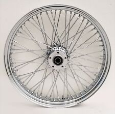 "Chrome Billet 60 Spoke 21"" x 3.5"" Front Dual Disc Wheel for Harley & Custom"
